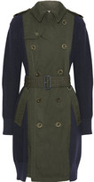 Sacai Ribbed-knit Cotton And Gabardine Trench Coat - Army green