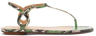 Aquazzura Almost Bare Python-effect Leather Sandals - Womens - Green Multi