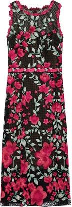 Marchesa Floral-appliqued Macrame Lace Midi Dress