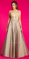 Camille La Vie Taffeta Beaded Basketweave Evening Dress