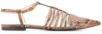 Stella McCartney Snake-Effect Strappy Ballerina Shoes