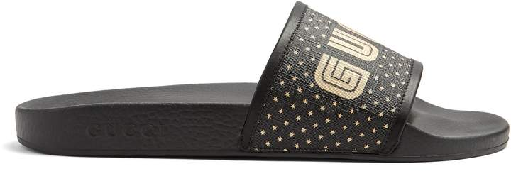 Gucci Logo-print leather-trimmed rubber pool slides
