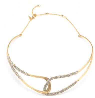 Alexis Bittar Crystal Encrusted Freeform Collar Necklace