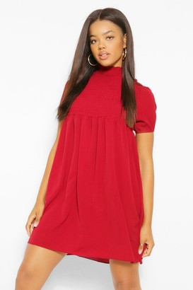 boohoo Shirred Puff Sleeve Smock Dress