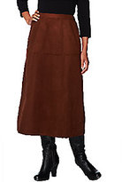 Joan Rivers Classics Collection Joan Rivers Petite Look of Suede Mid-Calf Riding Skirt