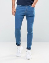 Pull&bear Super Skinny Jeans In Mid Wash Blue