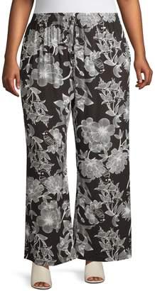 Gabrielle Plus Floral Print Pull-On Pants