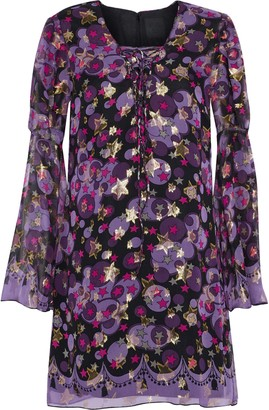 Anna Sui Metallic Printed Silk-blend Fil Coupe Mini Dress