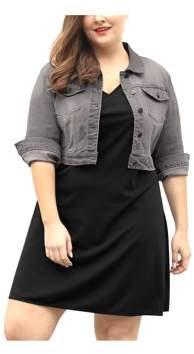 Unique Bargains Women's Plus Size Button Closed Cropped Denim Jacket