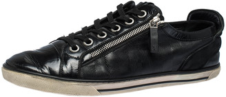 Louis Vuitton Black Infini Leather and Suede Low Top Sneakers Size 42