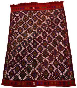 Mahala - 225 x 167cm Large Vintage Red Wool Turkish Kilim Rug - vintage red   wool