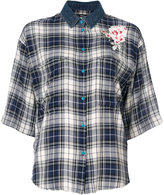 Diesel - check flower appliqué shirt