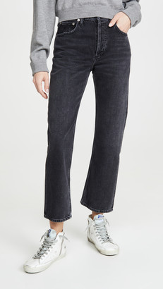 A Gold E Agolde Ripley Mid Rise Straight Jeans