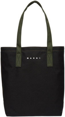 Marni Black and Green Cordura Balboa Shopping Tote