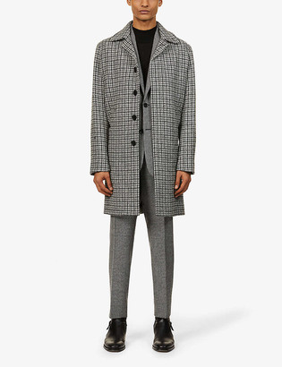 Sandro Houndstooth check wool coat