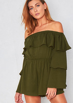Missy Empire Libby Green Ruffle Bell Sleeved Playsuit