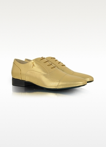 Patrizia Pepe Gold Leather Captoe Oxford Shoe