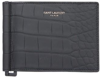 Saint Laurent Croc Effect Bifold Wallet