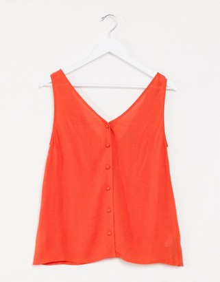 ASOS DESIGN button through crinkle tank in Tange red-No Color