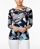 Charter Club Petite Floral-Print Cutout Top, Only at Macy's