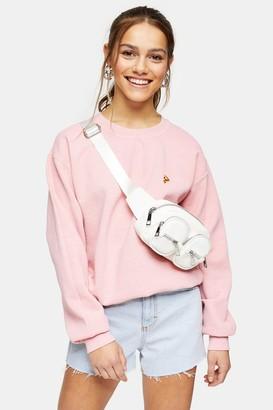 Topshop Womens Petite Pink Pizza Sweatshirt - Pink