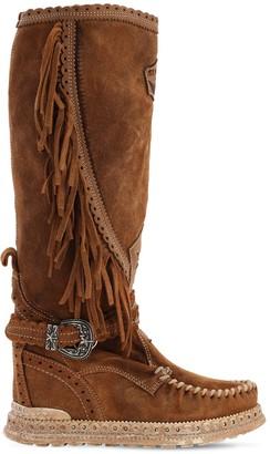 EL VAQUERO 70mm Jade Fringed Suede Boots