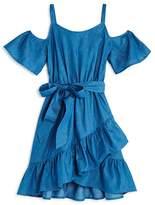 Aqua Girls' Ruffled Cold-Shoulder Chambray Wrap Dress, Big Kid - 100% Exclusive