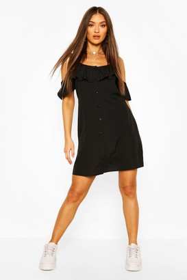 boohoo Cold Shoulder Button Detail Slip Dress