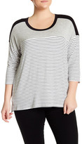 Hip 3/4 Sleeve Striped Tee (Plus Size)