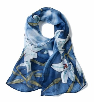 Invisible World Women's Silk Scarf 100% Mulberry Long Floral Design for Neck Head or Hair Hand Painted - Lilies on Blue