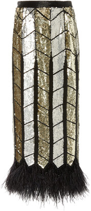 ATTICO The Feather-Trimmed Sequined Silk-Chiffon Maxi Skirt