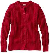 L.L. Bean Rope-Stitch Shaker Sweater, Button-Front Cardigan