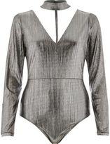 River Island Womens Silver metallic choker plunge bodysuit