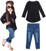 Mostsola Baby Kids Girl Long Sleeve T-shirt Tops + Jeans Pants Outfit Set