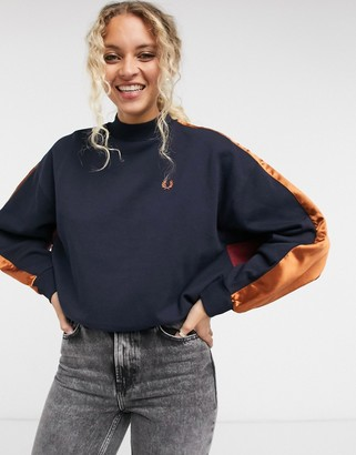 Fred Perry contrast panel sweatshirt in navy and red
