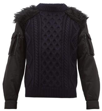 Prada Faux Fur Trim Nylon Sleeve Wool Sweater - Mens - Black Navy