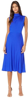 Milly Finlee Mock Neck Midi Dress (Cobalt) Women's Clothing