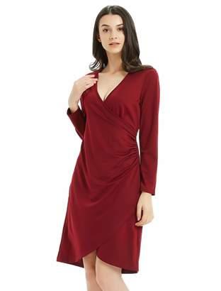 Basic Model Wrap Dress for Women V Neck Long Sleeve Tulip Hem Autumn Midi Dress Wine Red
