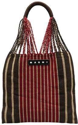 Marni Market Logo Striped Tote