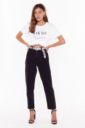 Nasty Gal Womens Don't Forget to Say High-Waisted Mom Jeans - Black - 6, Black