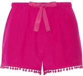 Figue Maja Pompom-embellished Silk Crepe De Chine Shorts - Magenta