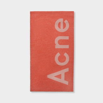 Acne Studios Toronty Logo Scarf In Pink And Off White Wool