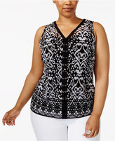 INC International Concepts Plus Size Lace-Up Printed Tank, Created for Macy's