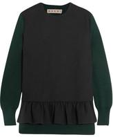 Marni Two-tone Wool-blend Crepe And Jersey Peplum Top - Black