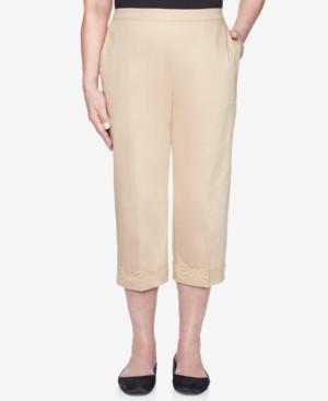 Alfred Dunner Petite Zanzibar Embroidered-Cuff Pull-On Capri Pants