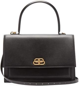 Balenciaga Sharp L Leather Bag - Womens - Black