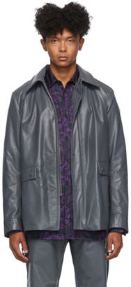 Dries Van Noten Grey Faux-Leather Jacket