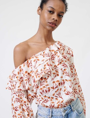 Maje Floral top with drop shoulders