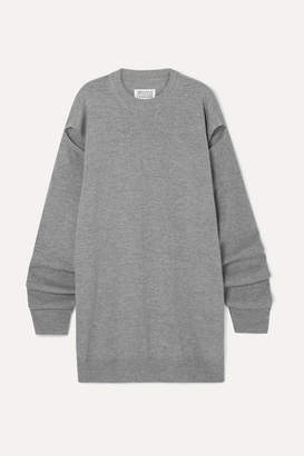 Maison Margiela Cutout Wool And Cashmere-blend Sweater - Gray