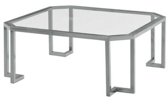 Benjara Glass Top Coffee Table With Clipped Corner And Metal Tube Base, Silver Table Base Color: Silver